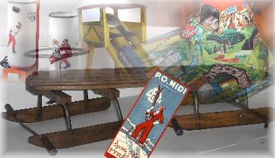 Objets de brocante, jouets et curiosités, peluches et mascottes, skis anciens